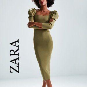 Zara New Knit Puff Sleeve Dress Midi Olive Green